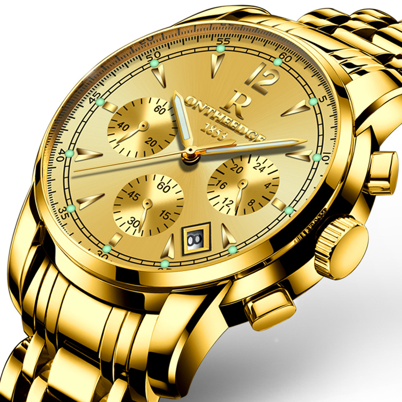 Luxury Gold Men Business Watches High Quality Stainless Steel Band Quartz Waterproof Wrist Watch Fashion Male Watch Clock 100% authentic kingnuos men watch fashion couple high quality quartz clock watch band stainless steel man waterproof wrist watch