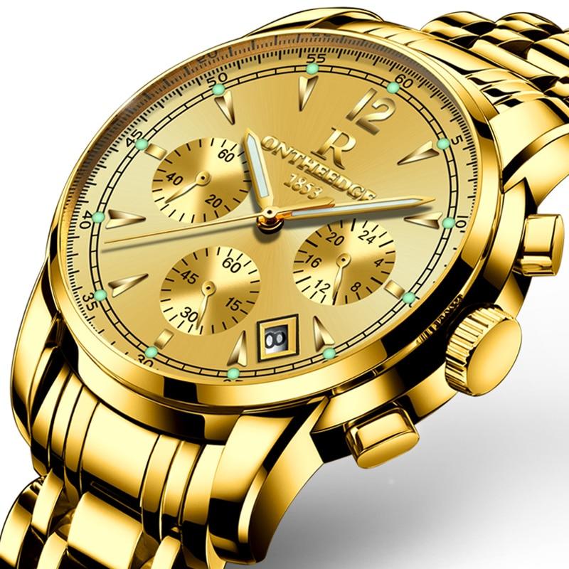 Luxury Gold Men Business Watches High Quality Stainless Steel Band Quartz Waterproof Wrist Watch Fashion Male Watch Clock