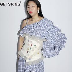 GETSRING Woman Belt Pearl Stitching Diamond Mesh Corset Belt Multi Way Wearing Vintage Fashion Wild Waist Belt Corset 2019 New