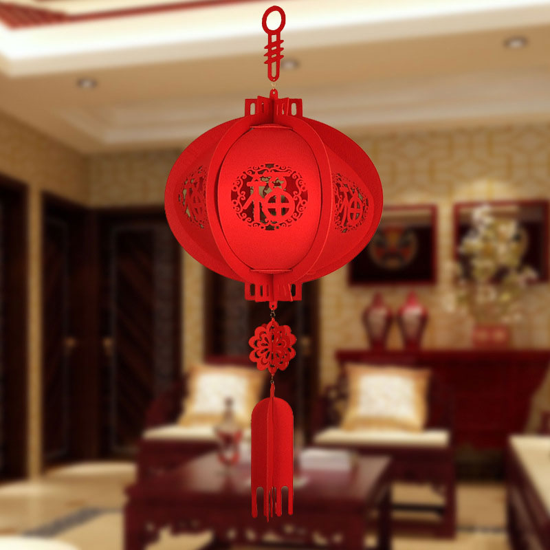 PRETYZOOM Chinese Spring Festival Hanging Decor LED Light up Chinese New Year Round Hanging Lanterns Chinese Lucky Lantern Without Battery for Chinese Zodiac OX Year Home Red