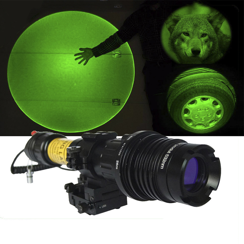 Handheld low temperature hunting adjustable 100mw green laser designator for rifle