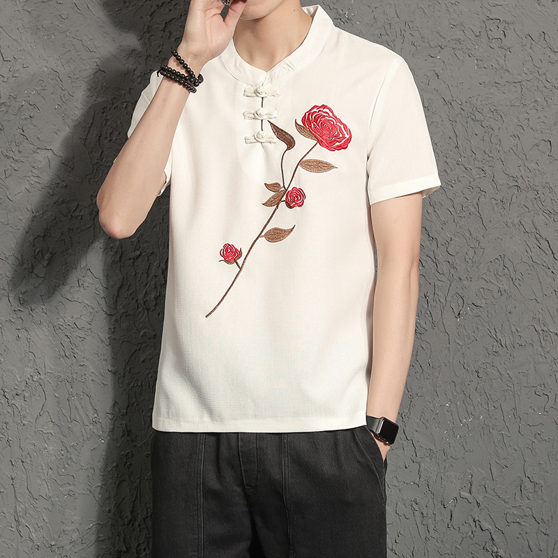 High Quality Linen T Shirts Men Classic Pan Kou Design Summer Casual Mens T-Shirts Short Sleeve O-Neck Flower Embroidery Tee 5XL