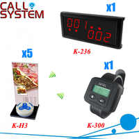 Wireless Call Bell System for restaurant services with 1 display 1 watch and 5 buttons, shipping free