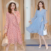 Summer Long Ruffle Sleeve Pregnancy Clothing Maternity Dot Dress Nursing chiffon Dress Pregnant Women Breastfeeding Clothes