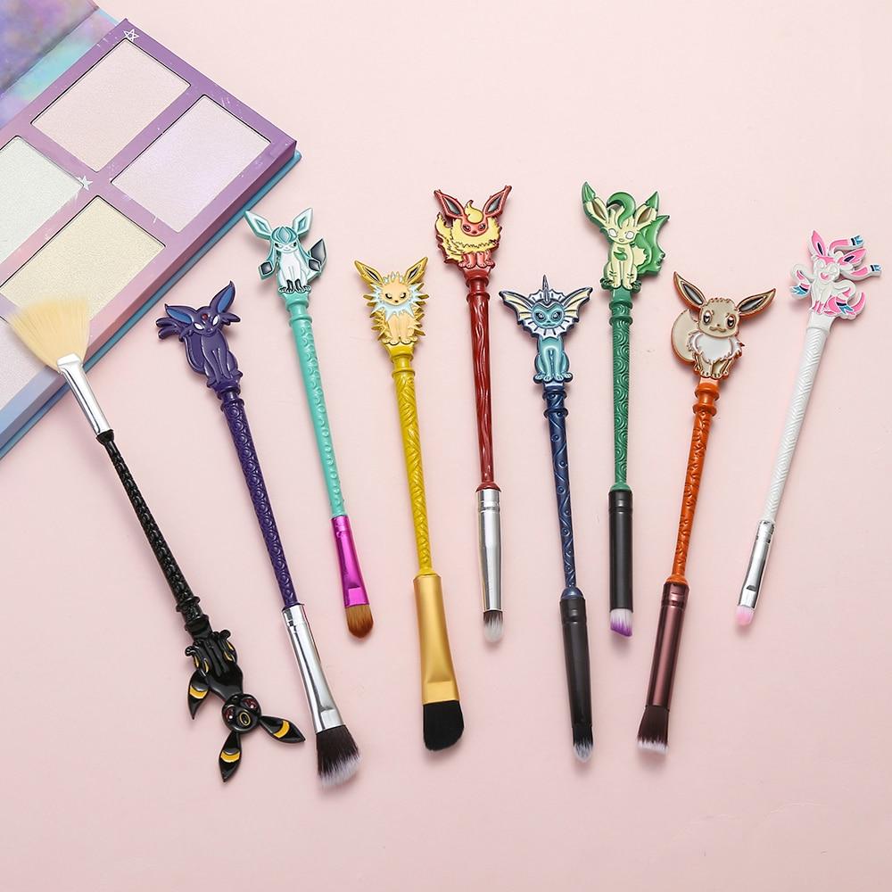 9 pçs/set Pokemon IR Eyeshadow Makeup Brushes Set Animais Encantadores/Jogo Mulheres Cosméticos Blending Pincel Maquiagem Profissional Pincéis de Maquiagem