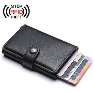 Hasp Men Credit Card Holder RFID Blocking PU Leather Automatic Business ID Card Holder Aluminum Metal Men Wallet Purse for Cards