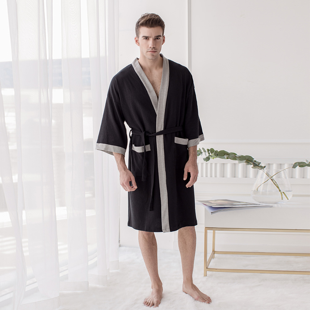Men's  Cotton Waffle Hotel Bathrobe Spa Robe Water Absorbing Nightgown Japanese-style Kimono Shawl Collar  Robe Night Gown