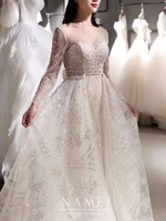 Stunning Beaded Tulle Wedding Dress Long Sleeve Detachable Train 2019 Corset Back Sweetheart Bride Wedding Gown