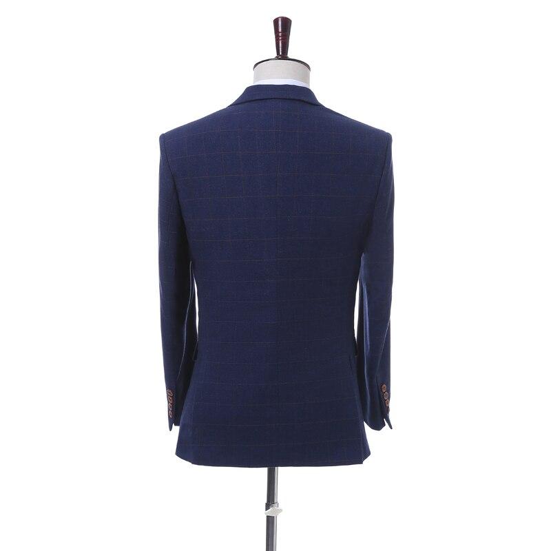 3 veste Fit Plaid Smokings Partie Slim Foncé Dernières Manteau Gilet Color Pantalon De Pièce Hommes Britannique Costume Costumes Picture Designs Bleu Mariage Sqn4Srf