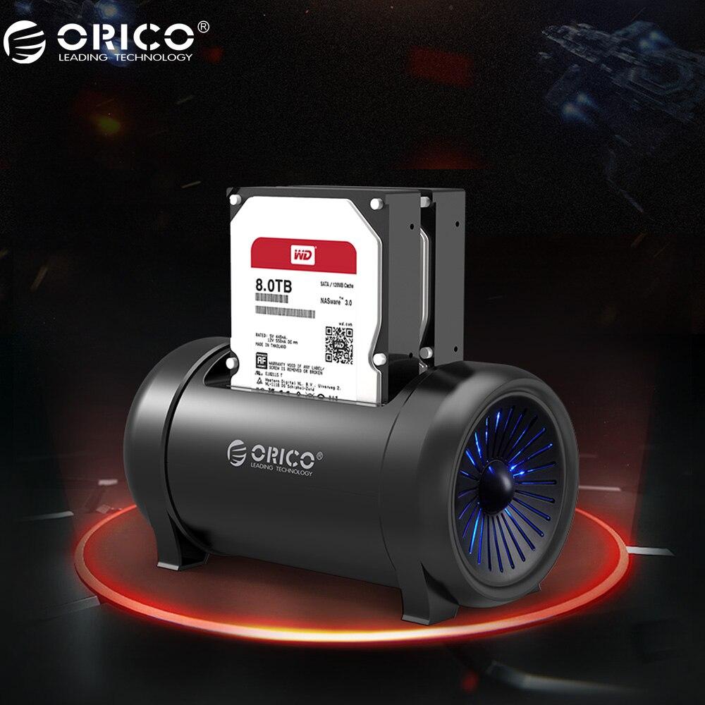 ORICO 5628US3 HDD станция два залива Оффлайн клон HDD док-станция 3,5 и 2,5 HDD с охлаждающим вентилятором и В 12 В DC адаптер питания