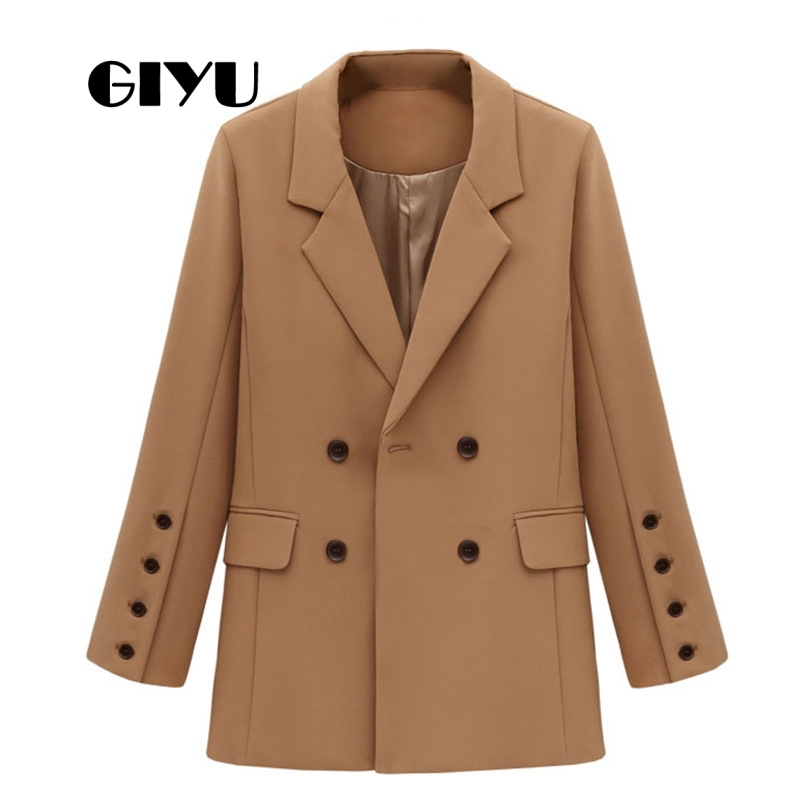 GIYU Autumn Winter Women Solid Blazer Long Sleeve Jackets Pockets Office Lady Casual Double Breasted Camiseta Mujer