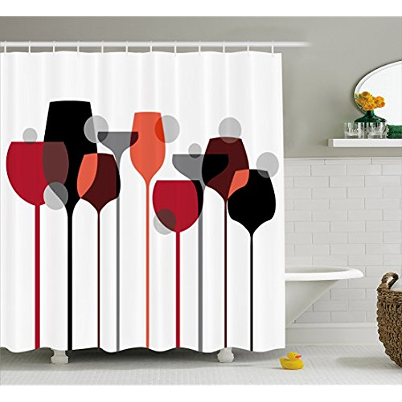 Vixm Wine Shower Curtain Stylized Abstract Glasses Silhouettes With Dots Alcohol Drink Modern Artistic Fabric Bath Curtains
