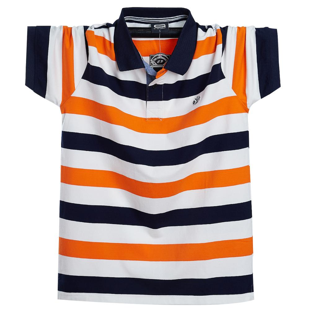 High Quality Plus Size 4XL 5XL 6XL 95% Cotton Colorful Horizontal Stripe Casual Business Short Sleeve Polo Shirt Men