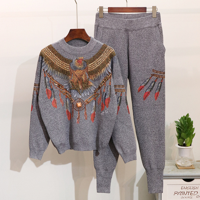 Autumn New 2 Piece Set Women Eagle Embroidery Knitted  Sweaters Winter Clothes Two Piece Set Tops Pants Casual Ladies Tracksuits