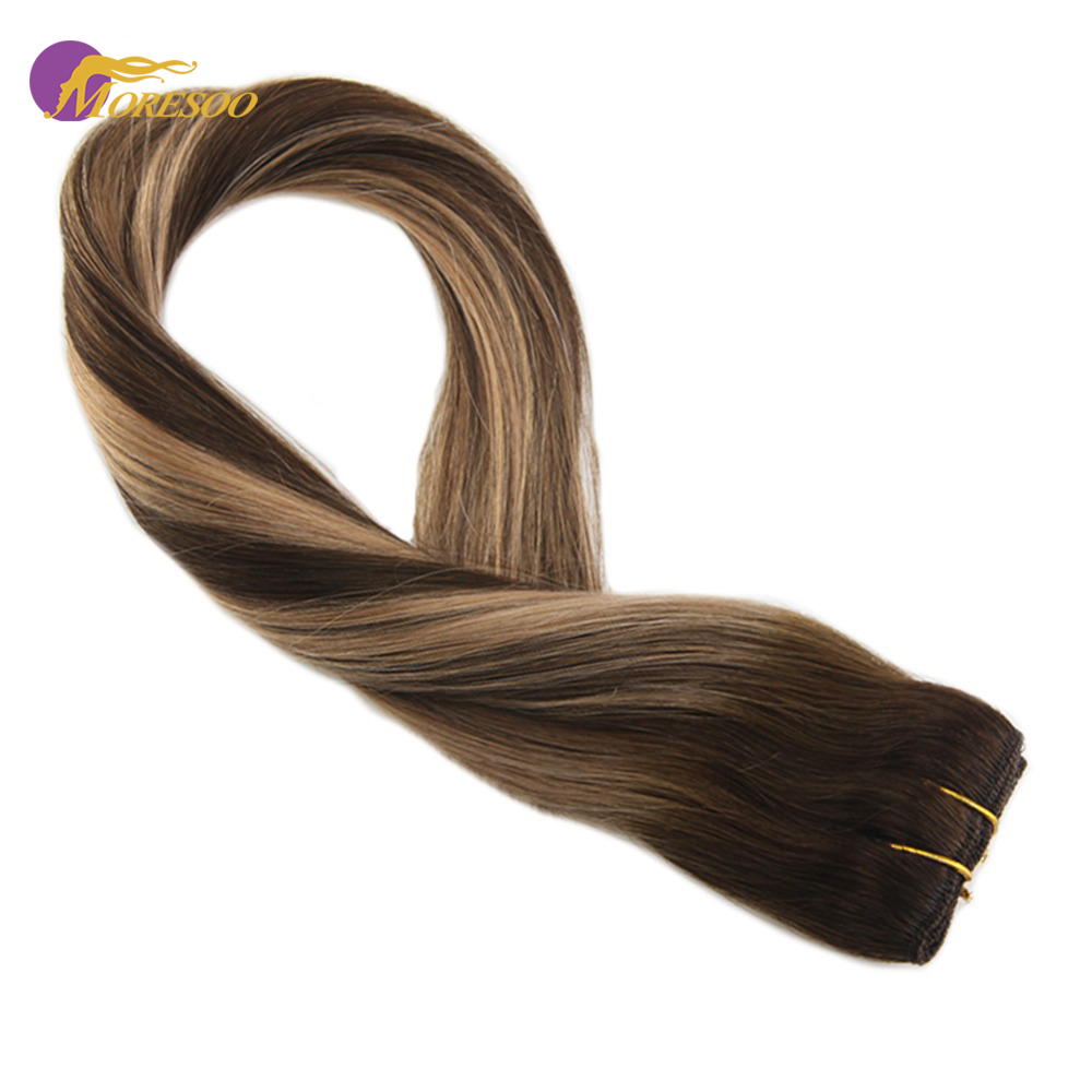 Moresoo  One Piece Clip In Hair Extensions Remy Human Hair Brown #4/27/4 Double Weft 3/4 Full Head Clip Ins 16-22 Inch 50-70G