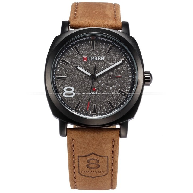 35dabbdca9dd CURREN Fashion Black Dial Brown Leather Strap Business Clock Men  Wristwatches Army Military Quartz Male Casual Watch   CUR047