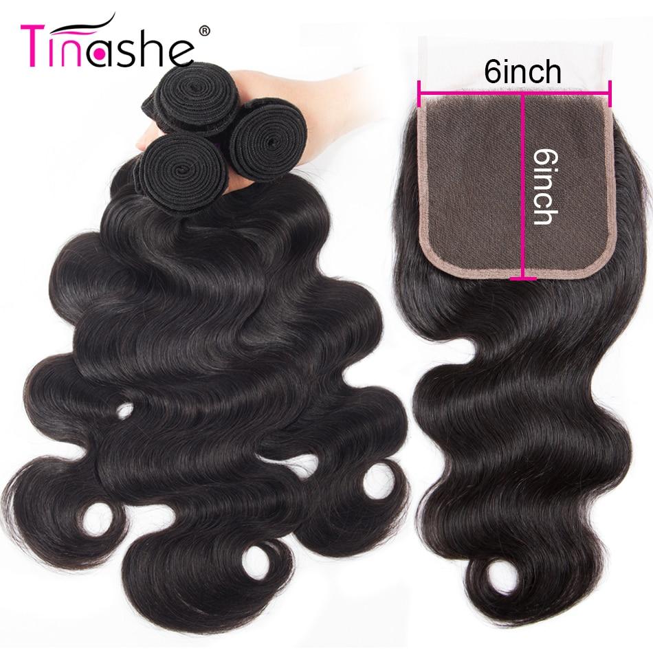 Tinashe волнистые волосы 3 пряди застежкой бразильские волосы волнистпряди Remy человеческие волосы 6x6 кружевная застежка пряди