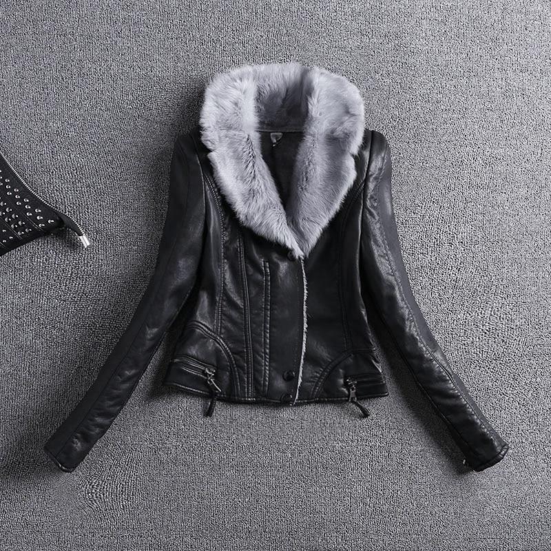 6fd2444132e2 Femme 2018 Nouveau Design Hiver PU Veste En Cuir Faux Cuir Souple Manteau  Mince Noir Zipper Moto Vestes Lapin Poilu Col dans En cuir et Suède de Mode  Femme ...