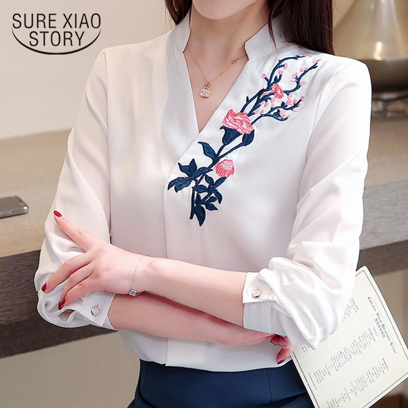 fashion woman blouses 2019 embroidery plus size women blouse shirt V collar office white blouse long sleeve women shirts 2182 50