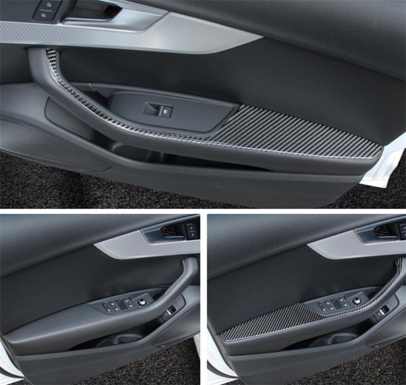 Door Handle Armrest Cover Trim For AUDI A4 B9 2017 Carbon Fiber Interior 4pcs car armrest box cover for audi