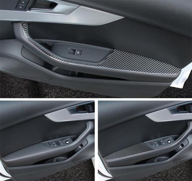 Buy Door Handle Armrest Cover Trim For Audi A4 B9 2017 Carbon Fiber Interior