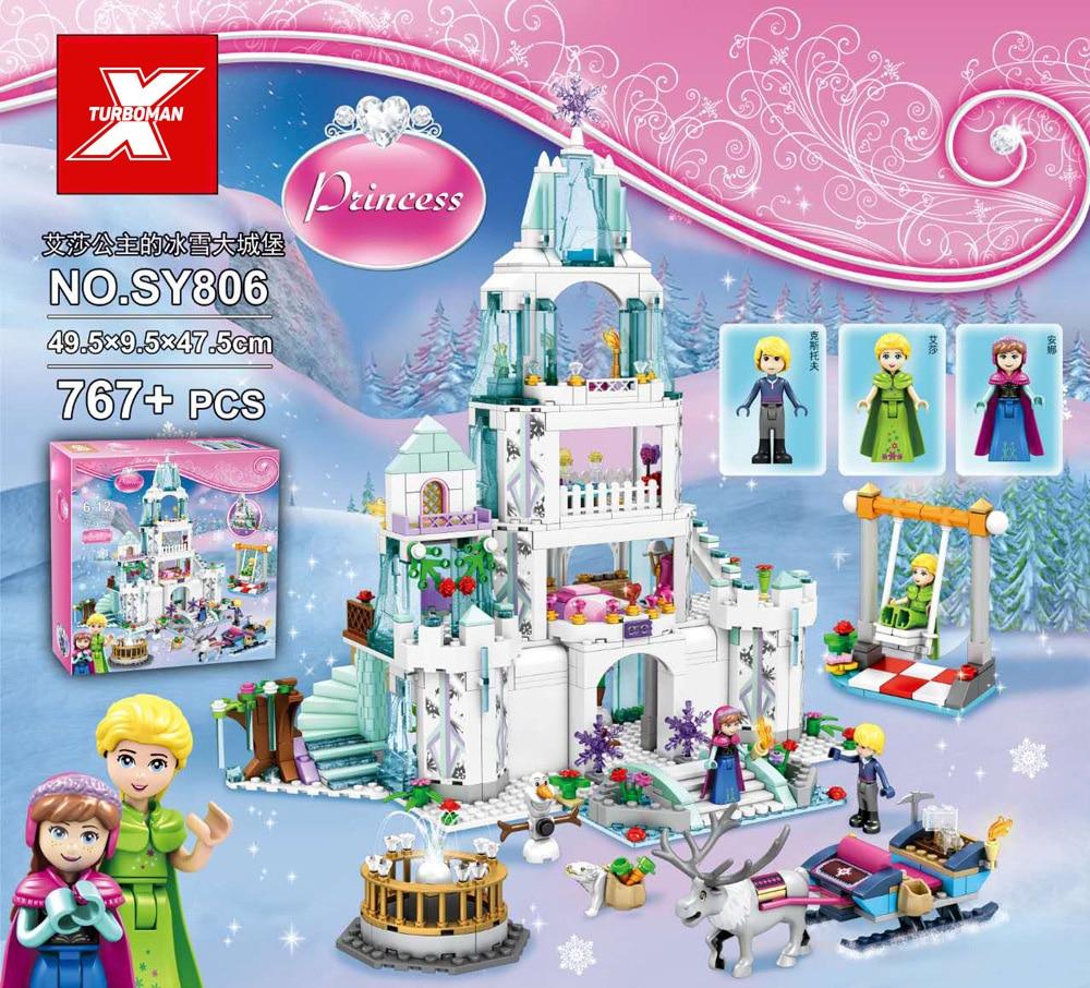 Hot fiaba della principessa della Neve regina di ghiaccio blocco di costruzione del castello Elsa E Anna olaf Kristoff figure giocattoli dei mattoni per ragazze regali-in Blocchi da Giocattoli e hobby su  Gruppo 1
