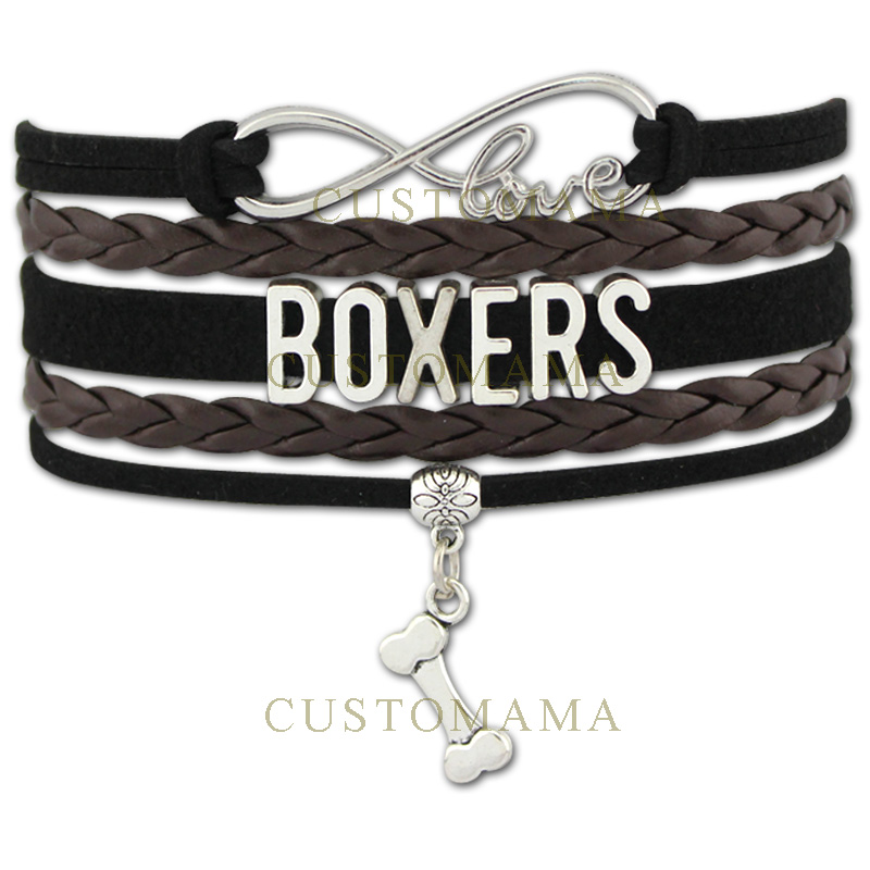 (10 PCS/Lot) Infinity Love Boxer Bracelet Bone Charm Dog Lover Gifts Pet Lover Gifts Black Grey Suede Leather Custom Jewelry