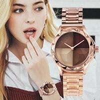 Saatler'ten Kadın Saatleri'de GUOU Kadın Saatler Moda Trend Bayanlar İzle Allık Paragraf kuvars saatler Lüks Tam Çelik Elbise Kol Saati Saat Reloj Mujer