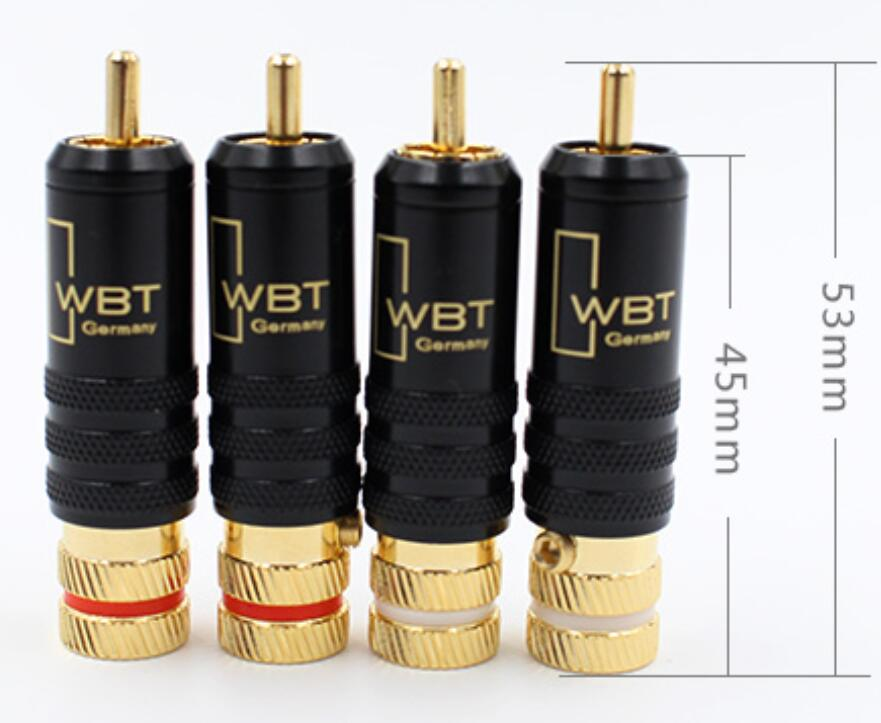 Hifi 4pcs RCA Connectors Male WBT-0144 Signal Line Plug WBT 0144 RCA Plug Lotus Head Copper RCA Plug Connectors