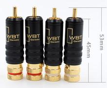 Alta fidelidade 4 pçs rca conectores macho WBT 0144 linha de sinal plug wbt 0144 rca plug lótus cabeça cobre rca plug conectores