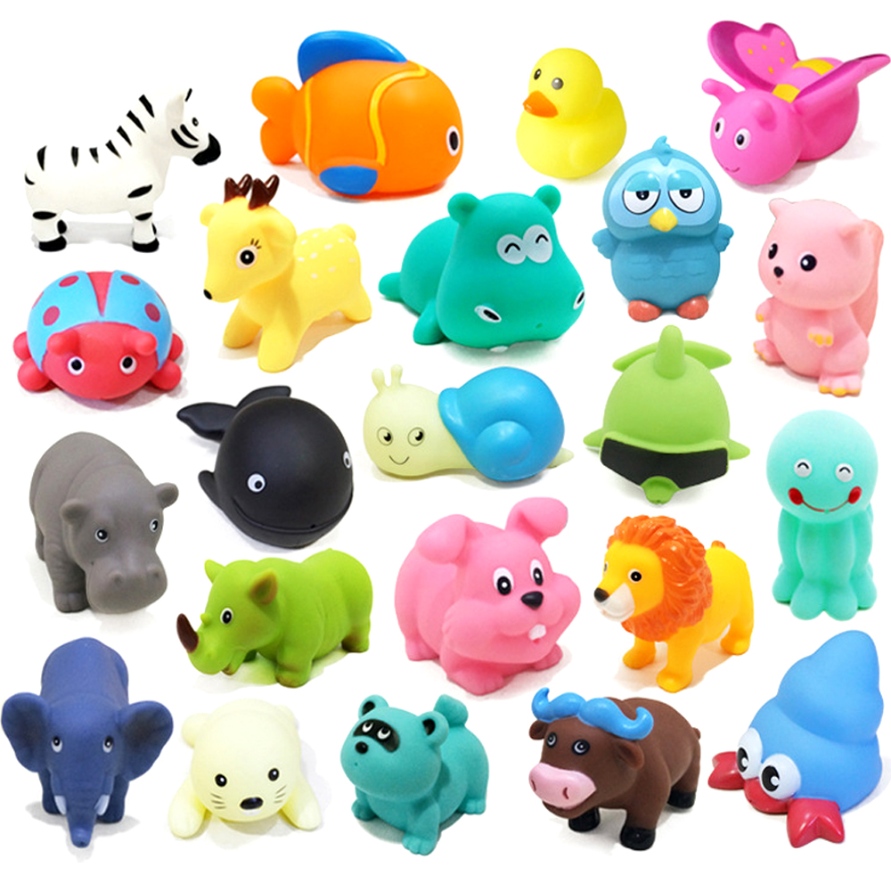 1PCS Cute Animals Soft Rubber Baby Bath Toys Float Squeeze Sound Bathroom Swimming Pool Baby Water Toys For Children Boys Girls