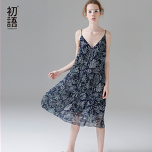 Toyouth 2017 Summer New Arrival Women Spaghetti Strap Floral Print V-Neck Collar Knee-Length Casual Sleeveless Dresses