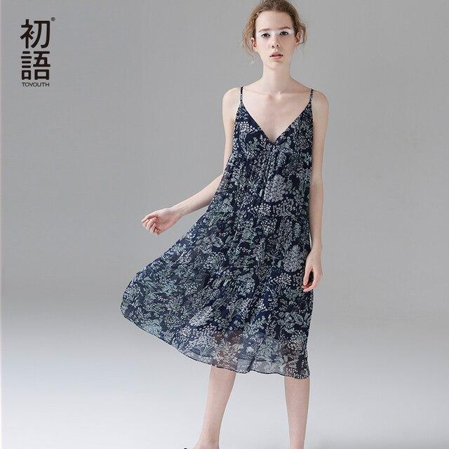 6ae01f38dbf Женское платье спагетти с цветочным принтом и v образным вырезом ...