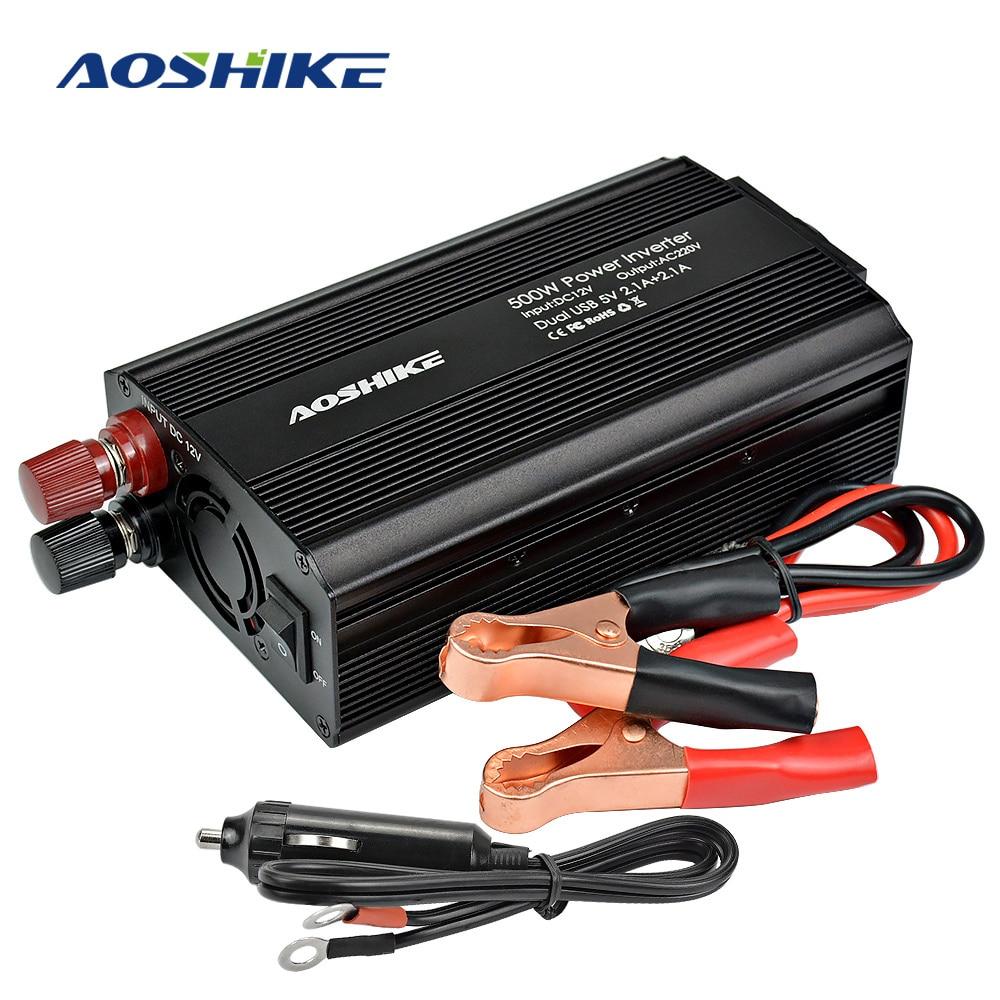 AOSHIKE voiture onduleur 12 V 220 V 500 W 4.2A double USB EU voiture onduleur 12 V à 220 V Auto tension transformateur voiture adaptateur