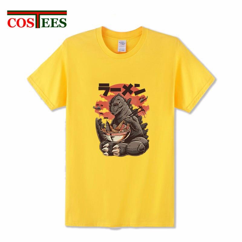 Japan anime Retro King Kaiju Tee Shirt Parody Cartoon Kaiju's Ramen T Shirts Vintage manga Monster Godzilla T-Shirt alien tshirt