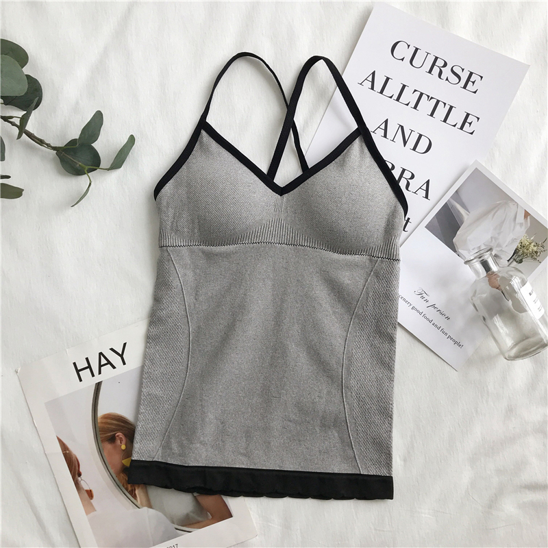 Crop Top Sexy Women Built In Bra Padded Tank Top Female Breathable Fitness Camisole Tops Solid Push Up Bra Vest Blusas Femininas in Tank Tops from Women 39 s Clothing