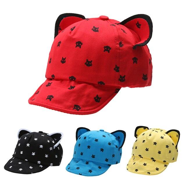 Bebé gorras lindo orejas de gato gorra de béisbol para los niños casquillo  enarbolado Negro Azul 279c31254f2