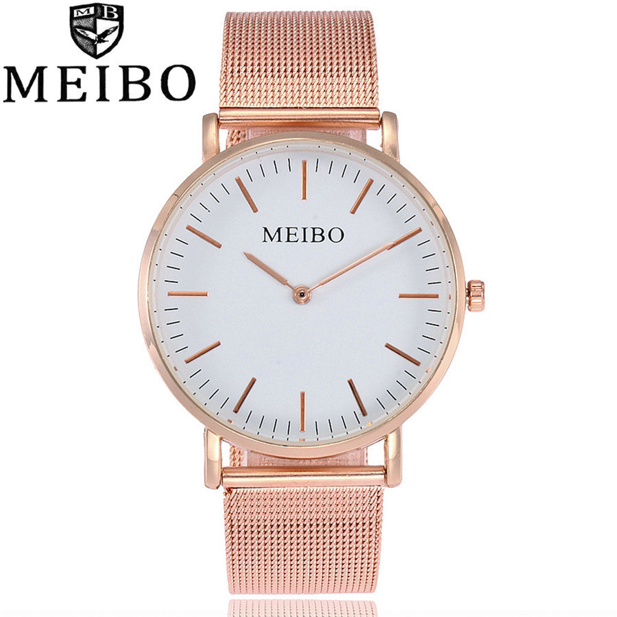 MEIBO Luxury Brand Quartz Watch Casual Fashion Women Watch Stainless Steel Mesh Strap Ultra Thin Clock Hours Relogio Feminino bgg brand creative two turntables dial women men watch stainless mesh boy girl casual quartz watch students watch relogio