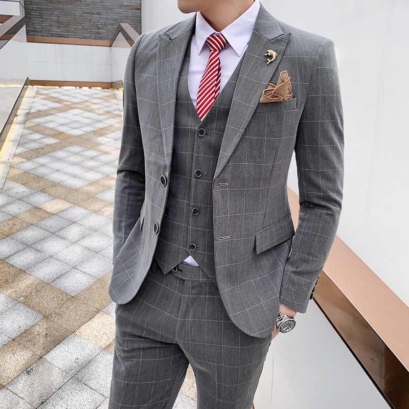 カスタム春スーツスーツスーツ、男性の格子縞のレジャースーツ、男性のスーツ、 3 スーツ、ウェディングドレス、介添人ビジネス