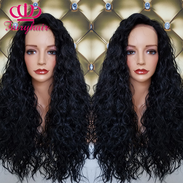 Lace Front loose curly Wigs Natural Baby Hair Synthetic Lace Front Wig Black Hair Glueless Wig Heat Resistant for Black Women