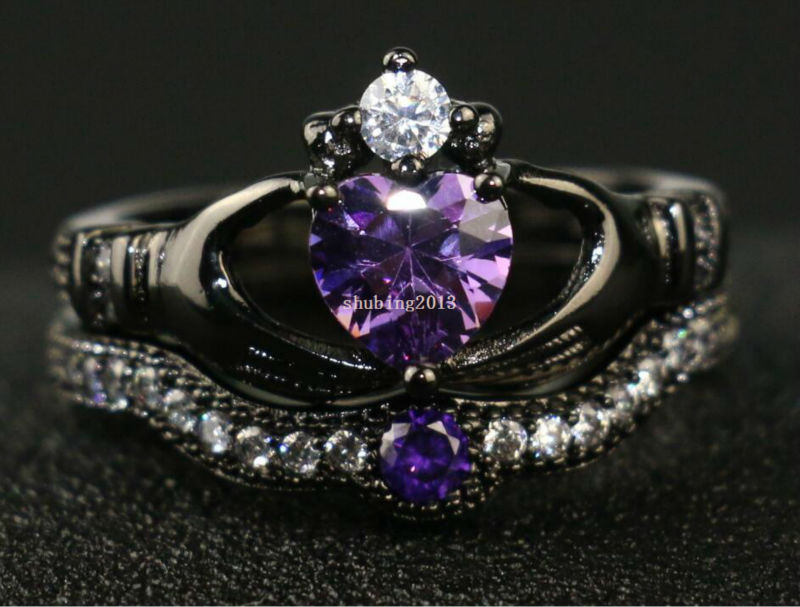Irish Claddagh Ring Black Gold Filled Heart Shape Purple Zircon Wedding Ring  CZ Womenu0027s Engagement Ring Sets 3 5 Days To USA In Rings From Jewelry ...