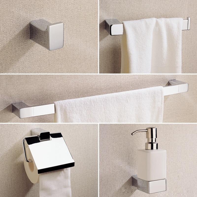 5pcs lot bathroom accessories sets brass liquid soap dispenser towel rail coat hook towel ring - Bathroom accessories towel rail ...