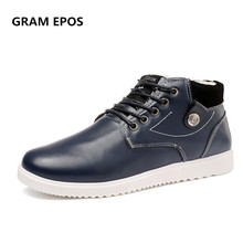 GRAM EPOS male winter warm plush  flats Men business dress shoes,Men oxford Formal Shoes wedding lace up casual high tops botas