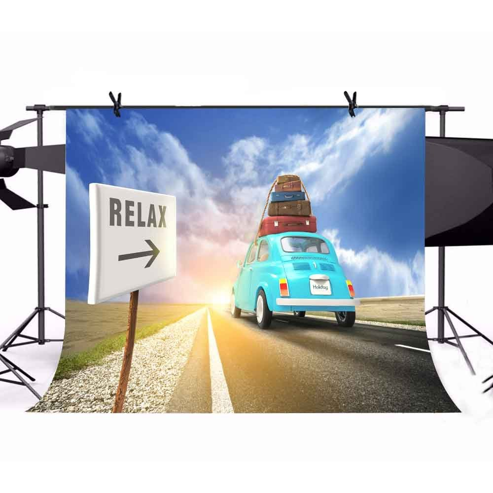 party background High quality Computer print Blue Sky White Clouds Travel Relax Suitcase Car Summer Holidays backdrops