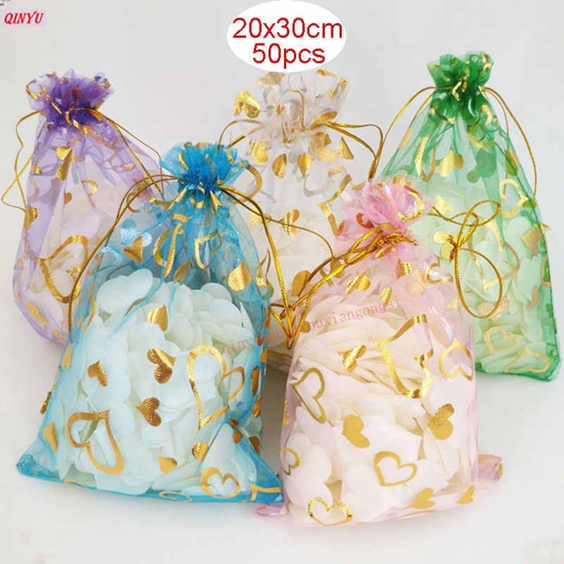 50Pcs/Lot 20x30CM Large Organza Bags Jewelry Pouches Or Wedding Candy  Packaging Gift Bag 7ZSH328