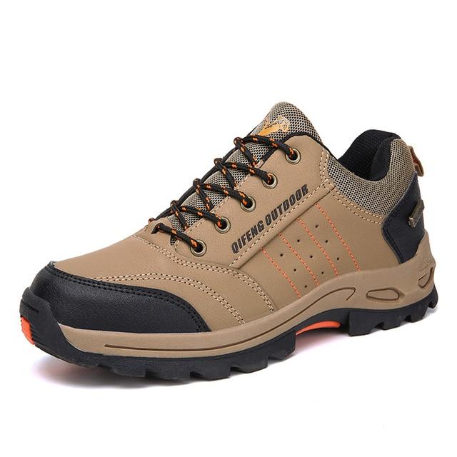 Big Size Waterproof Men Hiking Shoes Women Leather Non-slip Sneakers Mountain Climbing Fishing Shoes Autumn Winter Outdoor Shoes