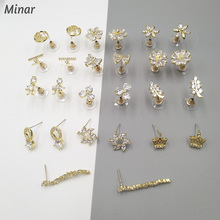 Chic Gold Color CZ Zircon Flower Stud Earrings For Women Girls Ladies Starry Halo Leaves Bow Crown Plane Girl Shape Earrings chic solid color crown arrow hairpin for women