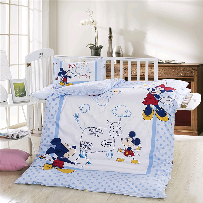 Disney Newest Sophia Mickey Minnie Winnie Bedding Set Crib 3 Pieces Covered Sheet Pillow Case Crib Boy Girl 0.6  Bed