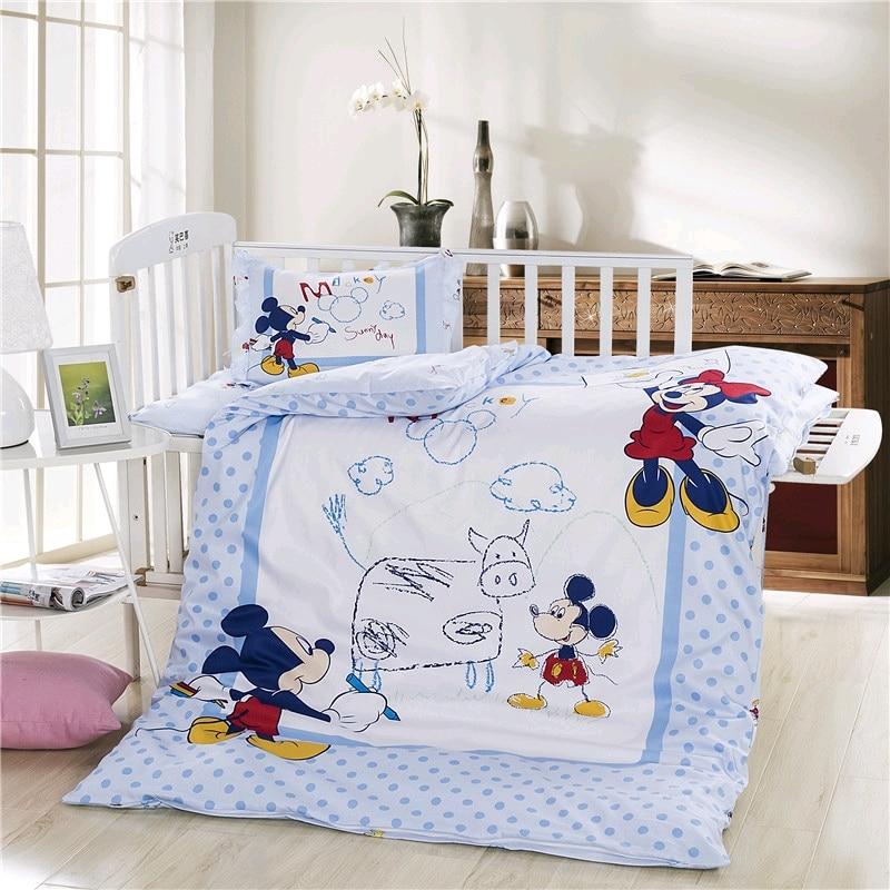 Disney Newest Sophia Mickey Minnie Winnie Bedding Set Crib Crib 3 Pieces Covered Sheet Pillow Case Crib Boy Girl 0.6  Bed
