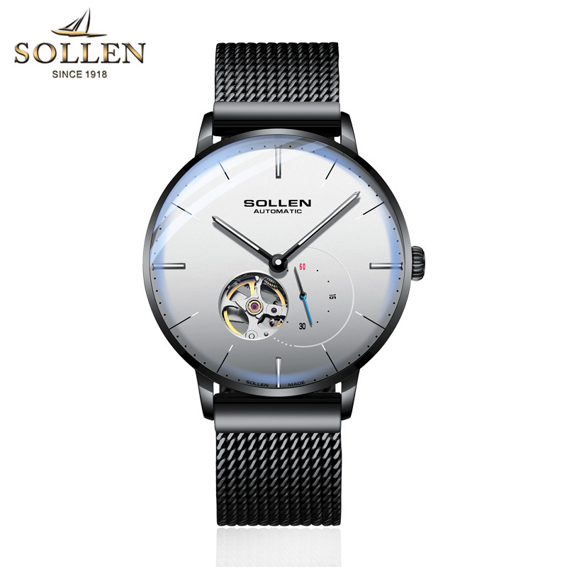 SOLLEN Mens Watches Top Brand Luxury Automatic Mechanical Watch Casual Steel Sapphire Waterproof Wristwatch Relogio Masculino